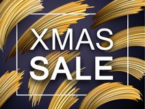 Christmas xmas sale promo poster with abstract golden brush stro. Ke design. Vector background royalty free illustration