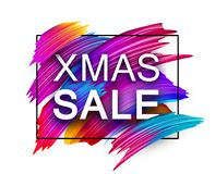 Christmas xmas sale promo poster with colorful brush strokes. White Christmas xmas sale promo poster with abstract colorful brush strokes. Vector background royalty free illustration