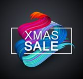 Christmas xmas sale promotion poster with colorful brush stroke. Christmas xmas sale promotion poster with abstract colorful brush stroke design. Vector royalty free illustration