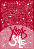 Christmas xmas sale text, print, poster, winter decoration, phot. O overlay, invitation, sticker design. Hand drawn lettering. Red background. Abstract lines Royalty Free Stock Photo