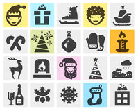 Christmas, xmas set black icons. signs and symbols Royalty Free Stock Photography