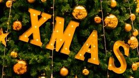 Christmas xmas sign on christmas tree stock photos