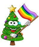 Christmas xmas tree character mascot cartoon rainbow peace flag isolated. On white royalty free illustration