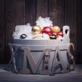 Christmas - Xmas tree subtitles capitals - snowfall Stock Photo