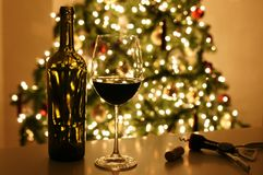 Christmas Xmas Tree Wine Royalty Free Stock Photography