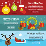 Christmas Year banner set, flat style Royalty Free Stock Photo