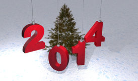 2014 christmas. Year illustration 2014 with navidad balls and snow Royalty Free Stock Images