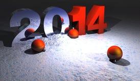 2014 christmas. Year illustration 2014 with navidad balls and snow stock illustration