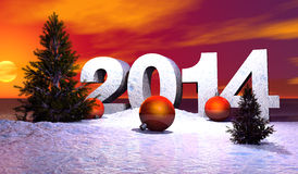 2014 christmas. Year illustration 2014 with navidad balls and snow Stock Images