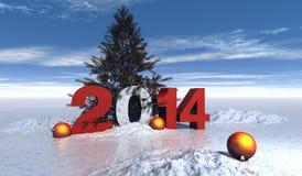 2014 christmas. Year illustration 2014 with navidad balls and snow vector illustration