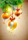Christmas yellow balls. Royalty Free Stock Image