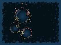 Christmas Yellow balls on dark blue background Stock Photo
