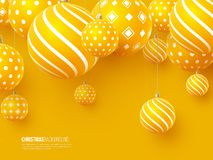 Christmas yellow balls with geometric pattern. 3d realistic style, abstract holiday background, vector illustration. Christmas yellow balls with geometric vector illustration