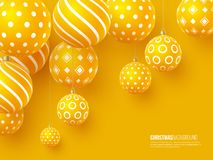 Christmas yellow balls with geometric pattern. 3d realistic style, abstract holiday background, vector illustration. Christmas yellow balls with geometric royalty free illustration