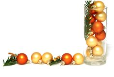 Christmas yellow balls isolated on white Stock Photo