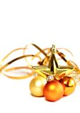 Christmas yellow balls isolated on white Royalty Free Stock Images