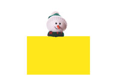 Christmas yellow card with snowman. Isolated on white background Stock Photos