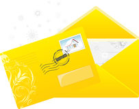 Christmas yellow envelop with post stamp. Illustration Royalty Free Stock Photo