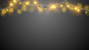 Christmas yellow light bulbs Royalty Free Stock Image