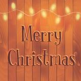 Christmas yellow light garland on the wood background. Illustration Stock Image