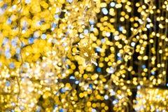 Christmas yellow lights on garland. For xmas holiday background stock image