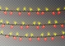 Christmas yellow red lights string. Transparent effect decoration isolated on dark background. Reali. Stic Christmas garland vector. Winter xmas glowing lights Stock Images