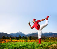 Christmas yoga dancer pose Royalty Free Stock Photography