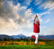 Christmas yoga tree pose Royalty Free Stock Images