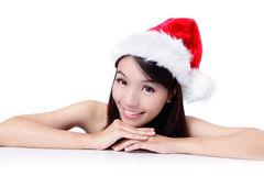 Christmas young girl showing blank billboard Stock Images