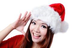 Christmas Young Happy Girl Say Hello Stock Photos