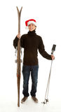 Christmas young  man with old wooden ski Stock Photography