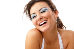 Christmas young sexy woman happy smiling Stock Image
