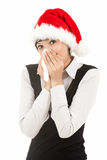 Christmas young woman sneezing into tissue Royalty Free Stock Image