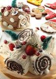 Christmas Yule Log Cake Stock Images