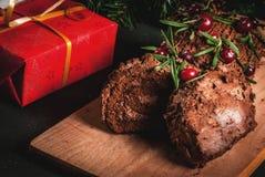 Christmas yule log cake Royalty Free Stock Photos