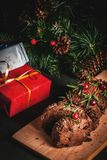 Christmas yule log cake Stock Photography