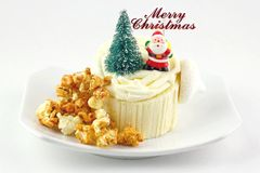 Christmas Yule Log Cake Stock Photography