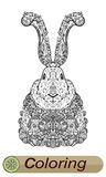 Christmas Zentangle rabbit in costumes. Coloring for adults and children. Royalty Free Stock Photos