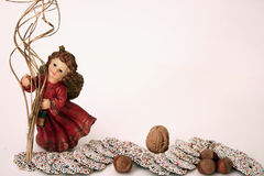 Christmasangel mit Bonbons Stockfoto