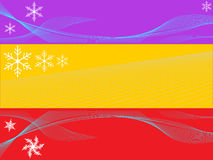 Christmasborders. Three christmas border decorations with snow flakes Stock Image