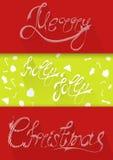 Christmascard印刷术,手写,五颜六色,平 库存照片