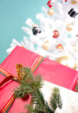Christmascard. X-mas presents with christmastree royalty free stock photo