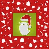 Christmascard met abstracte vlakke santa, kleurrijk, Kerstmiselementen Stock Fotografie