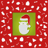 Christmascard mit abstrakter flacher Sankt, bunt, Weihnachtselemente Stockfotografie
