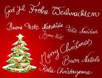 Christmascard multilingüe Imagen de archivo libre de regalías