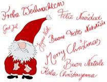 Christmascard multilingüe Fotografía de archivo libre de regalías