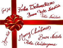 Christmascard multilingue Immagini Stock