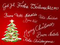 Christmascard multilingue Imagem de Stock Royalty Free