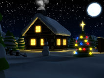 Christmascard/winterscene. 3d rendered illustration of a winterscene with house and trees Stock Photo