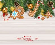 Vector Christmas background with sweet gingerbreads, decorations, tangerines. Happy New Year royalty free illustration